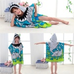 60x120cm Children Cute Cartoon Hooded Cloak Beach Towel