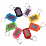 Mini Portable Solar Power Rechargeable 3 LED Flashlight Keychain Light Torch Ring Holder Nine Colors