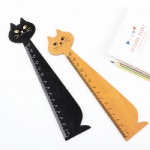 Lovely Cat Shape Ruler Cute Wood Animal Straight Ruler Gift for Kids School Supplies Stationery Black Yellow