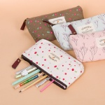 Kawaii Lovely Floral Canvas Zipper Pencil Cases