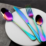 Colorful Rainbow Dinnerware Set Stainless Steel Cutlery Set 4 Pcs Black Knife Fork Set Tableware Gold Silver Western Food Set