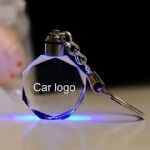 Crystal interior key chain logo custom LED colorful luminous Pendant