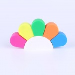 Customized logo flower Shaped Highlighter Pen Watercolor Fluorescent Marker Pen Office School Stationery